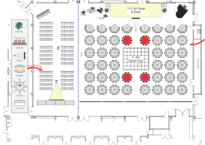 PDF floor plan showing a wedding layout