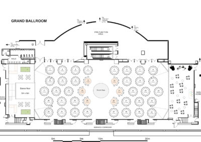 Floor plan of Westin Sydney Hotel with table layout