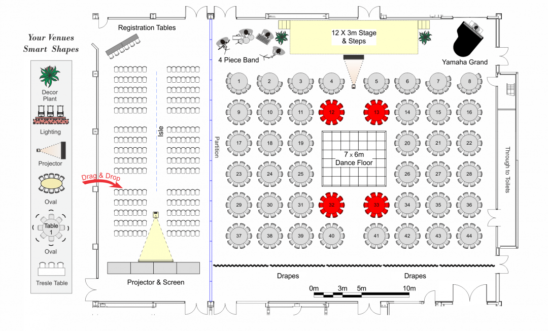 Event Plan Showing Custom Layout